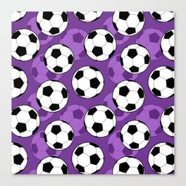 Football Pattern on Purple Background Canvas Print