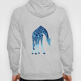 'Feelin' Blue' Pointillism Blue Giraffe Illustration Hoody