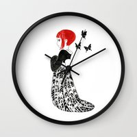 moth Wall Clocks featuring Moth by Freeminds