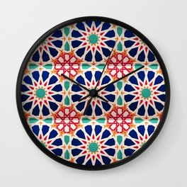 -A21- Traditional Colored Moroccan Mandala Artwork. Wall Clock