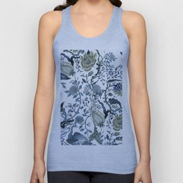 Blue vintage chinoiserie flora Unisex Tank Top