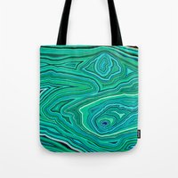 malachite Tote Bags featuring After Malachite by Lara Mann