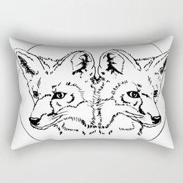 Fox Twins (white) Rectangular Pillow