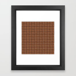 Geometric raster minimal raw brush strokes grid pattern copper Framed Art Print