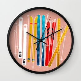 Colorful Ski Illustration and Pattern no 2 Wall Clock