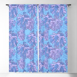 Tropical  Monstera Leaves Purple and Blue Blackout Curtain