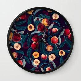 Nectarine and Leaf pattern Wall Clock