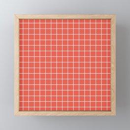 Fire opal - pink color - White Lines Grid Pattern Framed Mini Art Print