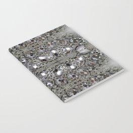girly chic glitter sparkle rhinestone silver crystal Notebook
