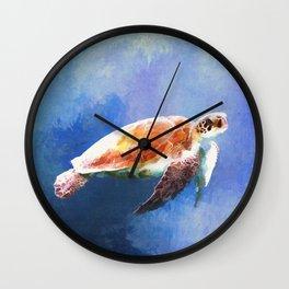 Sea Turtle Watercolor Art Wall Clock
