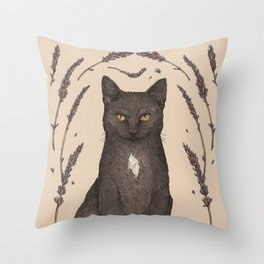 The Cat and Lavender Throw Pillow