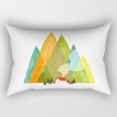 House at the foot of the mountains Rectangular Pillow