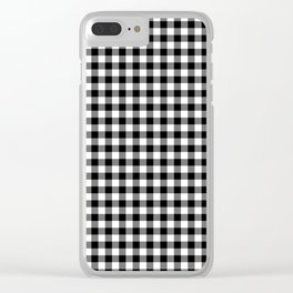 Gingham Black and White Pattern Clear iPhone Case
