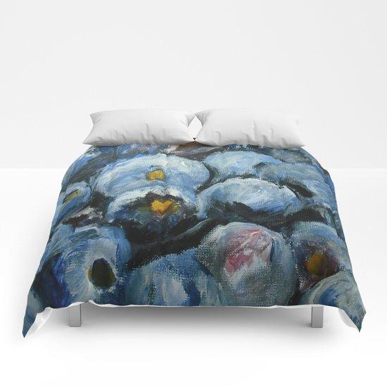 Blueberries - Still Life In Acrylics Original Fine Art Comforters
