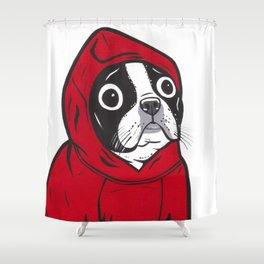Red Hoodie Boston Terrier Shower Curtain