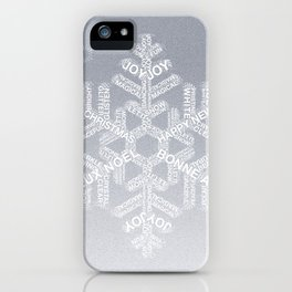 Typographic Snowflake Greetings - Silver Grey iPhone Case