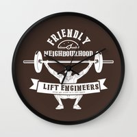 snatch Wall Clocks featuring Friendly Neighbourhood Lift Engineers by Daniel Thompson