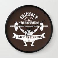 crossfit Wall Clocks featuring Friendly Neighbourhood Lift Engineers by Daniel Thompson