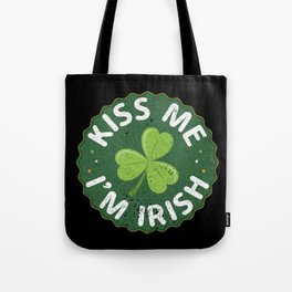 Kiss Me I'm Irish graphic Funny Saint Patrick Day Gift Tote Bag