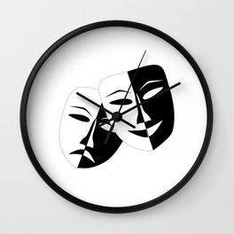 Comedy & Tragedy Drama Masks Wall Clock