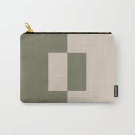 Light Beige Green Minimal Square Design 2021 Color of the Year Uptown Ecru and Sage Carry-All Pouch