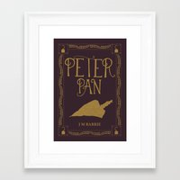 book cover Framed Art Prints featuring Peter Pan Book Cover by Abbie Imagine
