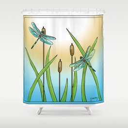Dragonflies Fly Shower Curtain