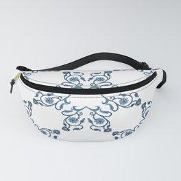 Blue Floral Heart Tile Fanny Pack