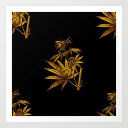 Gold Cannabis Sativa Vintage Botanical Illustration Art Print