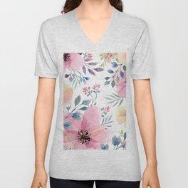 flower watercolor 1 Unisex V-Neck
