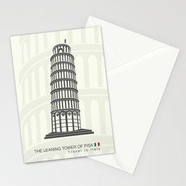 figure leaning tower of Pisa in Italy Stationery Cards