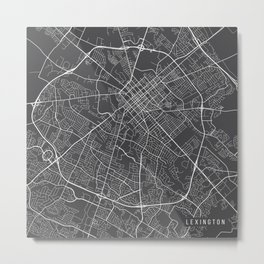 Lexington Map, USA - Gray Metal Print