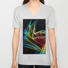 Dancing Northern Lights, Abstract Summer Sky Unisex V-Neck