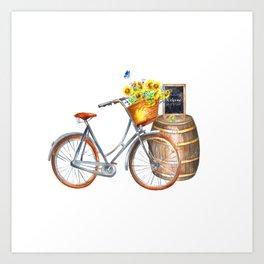 Sunflower Bicycle Art Print
