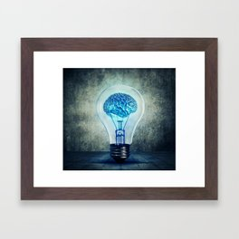 lightbulb brain shining Framed Art Print