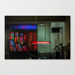 Montreal Metro orange line stained glass Canvas Print