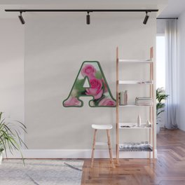 Letter A Rose Monogram Wall Mural