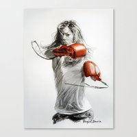 boxing Canvas Prints featuring Boxing by Raquel García Maciá