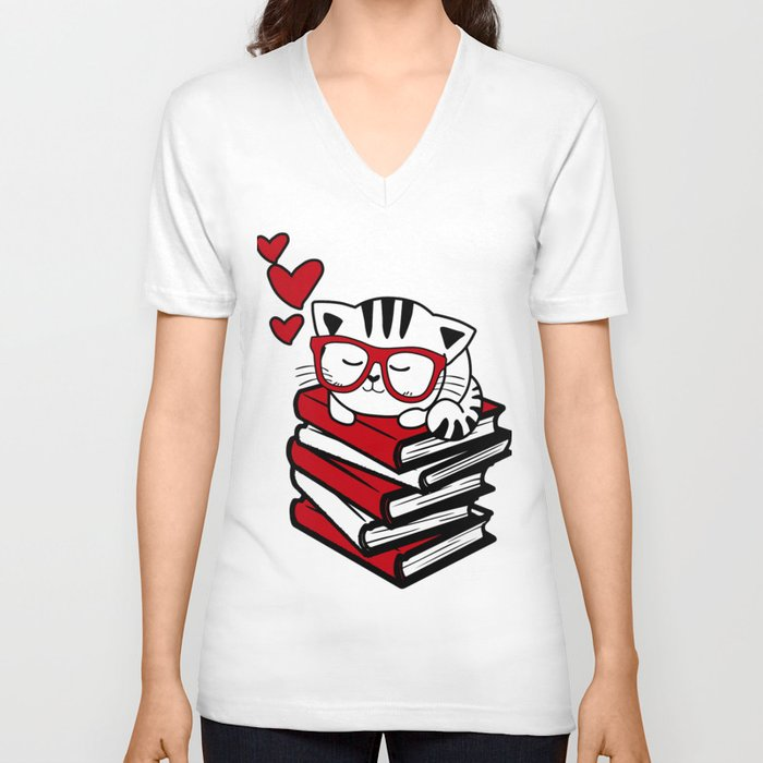 Reading Gift Funny Cat Book Reader Geek Glasses Bookworm Unisex V-Neck by  pnmerch