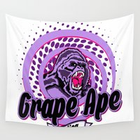 ape Wall Tapestries featuring Grape Ape by Cannalusions Clothing Co.