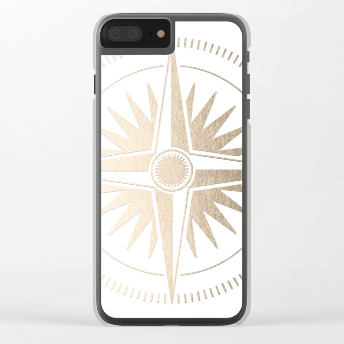 Gold on White Compass Clear iPhone Case