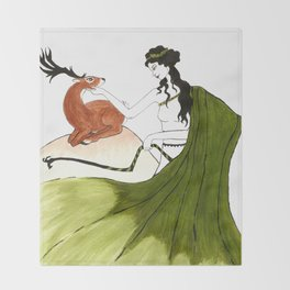 The Lady Artemis, The Goddess of the Hunt Throw Blanket