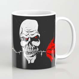 Skull with flower between teeth - halloween skull - skeleton cartoon - gothic illustration Coffee Mug