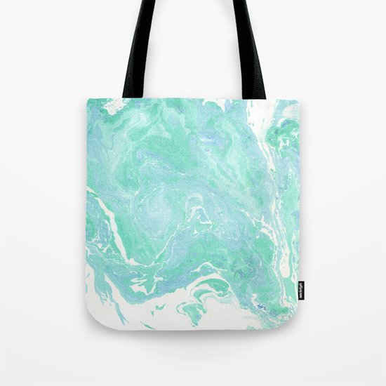 Marble texture background, white blue green marble pattern Tote Bag
