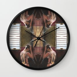 Nude in Shower (Dominic Monaghan) Wall Clock