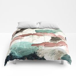 abstract painting VI - green & dusty pink Comforters