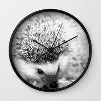 hedgehog Wall Clocks featuring hedgehog by Bunny Noir