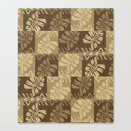 Vintage Samoan Tropical leaves Tapa Print Canvas Print