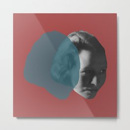 Edna St. Vincent Millay Portrait - red and blue Metal Print