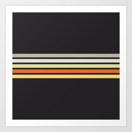 Colorful Retro Stripes Black IV Art Print